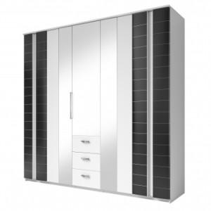 Luxusní šatní skříň Paris bc – provedení bílá / černá