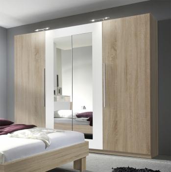 Šatní skříň se zrcadlem Veria bds – dub sonoma / bílá