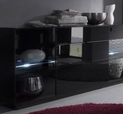 Prosklená komoda Astor 1 – provedení wenge / černé sklo