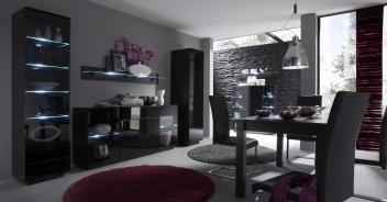 Moderní obývací sestava Astor C –  wenge / černé sklo