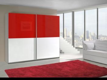 Bílo-červená šatní skříň s posuvnými dveřmi Darvin 17