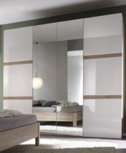 Bílá šatní skříň se zrcadlem Sicilia 1 světlá