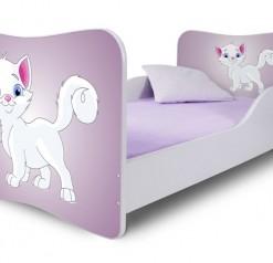 Dětská jednolůžková postel s bílou kočičkou