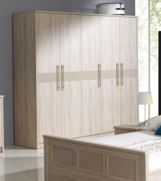 5-dveřová šatní skříň Delora 2 – provedení dub/cappuccino
