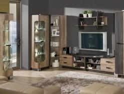 Moderní obývací stěna s vitrínami - sestava Raven 5
