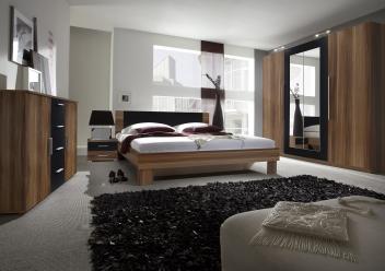Moderní ložnice Veria occ –  červený ořech / černá