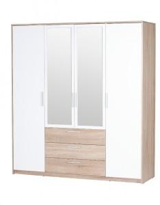 Šatní skříň se zrcadlem Rebeka - dub sonoma / bílá