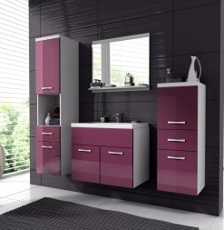 Koupelnový nábytek Horace 1 - bílá / fialový lesk