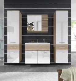 Koupelnový nábytek Horace 3 - dub sonoma / bílý lesk
