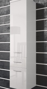 Vysoká skříňka Horace  - bílá / bílý lesk