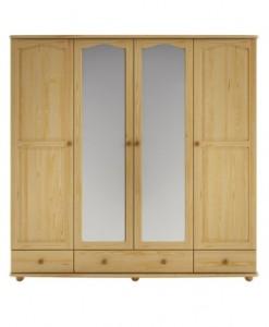 Čtyřdveřová šatní skříň Alcara se zrcadlem
