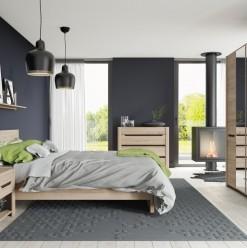 Elegantní ložnice Emanuela v přírodním provedení dubu san remo