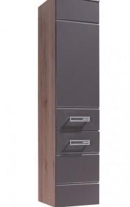 Vysoká skříňka Demario - dub san remo / šedý lesk