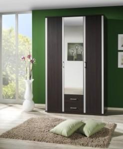 3-dveřová šatní skříň se zrcadlem Lister – provedení wenge