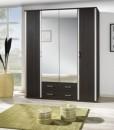 4-dveřová šatní skříň se zrcadlem Lauren – provedení wenge