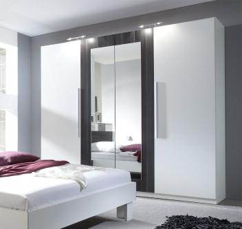 4-dveřová šatní skříň se zrcadlem Veria boc - bílá