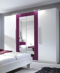 4-dveřová šatní skříň se zrcadlem Veria bl - bílá