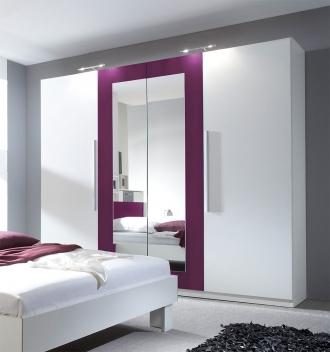 4-dveřová šatní skříň se zrcadlem Veria bl – bílá